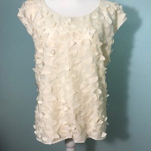Talbot's 100% silk, cream,  retro blouse, Size 10